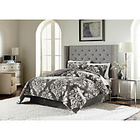 Size King - Lenox Velvet Plush 3-Piece Comforter Set Grey