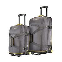 High Sierra 2 Piece Upright Wheeled Duffel Set Grey/Yellow