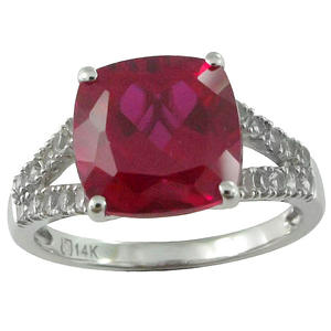 Lab-Created Ruby and Lab-Created White Sapphire Ring,14K
