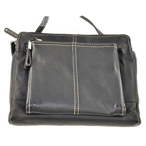 Tignanello Leather Triple Compartment Crossbody Black