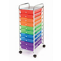 Seville 10 Drawer Cart, Multi-Color