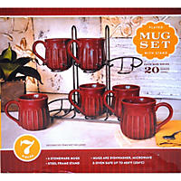 Stoneware Fluted Mugs, Set of 6 with Display Stand - Red