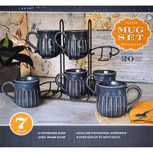 Stoneware Fluted Mugs, Set of 6 with Display Stand - Blue | SamsClub ...