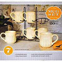 Stoneware Fluted Mugs, Set of 6 with Display Stand - Ivory