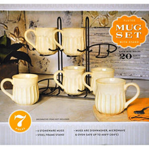 Free Shipping Stoneware Fluted Mugs Set Of 6 With Display Stand Ivory