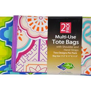 Sam S Club Multi Use Tote Bags 2 Pk Blue Green Purple