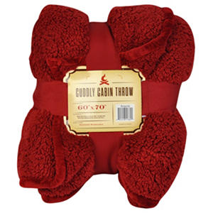 Bon Cuddly Cabin Throw, Red (60 In. X 70 In.)