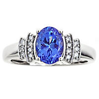 Oval Cut Tanzanite and Diamond Ring in 14K White Gold, Size 7