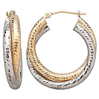 14K Two-Tone Gold Overlap Earrings