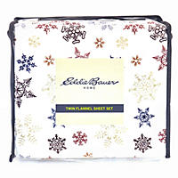 Eddie Bauer Cotton Flannel Sheet Set - Full - Tossed Snowflake
