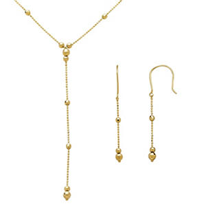 Lariat and Earring Set in 14K Yellow Gold