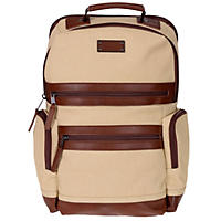 Renwick Business Backpack with Genuine Leather Trim (Cream)