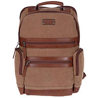 Renwick Business Backpack with Genuine Leather Trim (Brown)