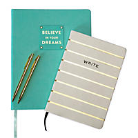 Eccolo 2 Journals and 2  Pen Set - Turquoise Dreams