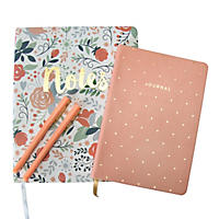 (Free Shipping)Eccolo 2 Journals and 2  Pen Set - Floral Notes