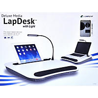 Deluxe Media Lapdesk with Light (White)