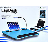 Deluxe Media Lapdesk with Light (Aqua)
