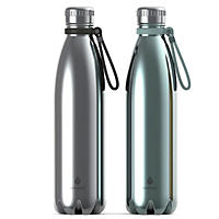 Manna Vogue Double-Wall Insulated Bottles, Set of 2 - Chrome and Ice