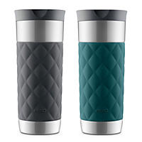 Ello Parson Stainless-Steel Travel Mugs, 2-Pack Teal & Grey