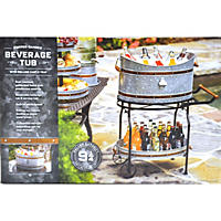 Copper Band Beverage Tub with Rolling Stand, Silver