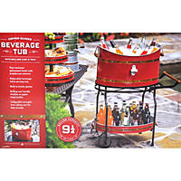 Copper Band Beverage Tub with Rolling Stand - Red