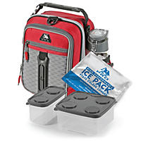Arctic Zone Pro High-Performance Dual Compartment Kids Lunch Box - Red/Black