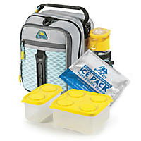 Arctic Zone Pro High-Performance Dual Compartment Kids Lunch Box - Cool Gray/Yellow