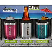 3 Pack Stainless Steel Koozie, Pink/Silver/Turquoise