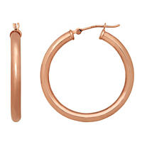 Hoop Earrings 3mm x 30mm in 14K Rose Gold