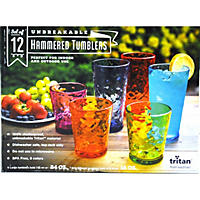 Unbreakable Hammered Tumbler Set 12 pack, Multicolor Cups