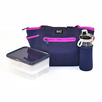 Built XL Adela 10-Piece Lunch Set, Navy/Purple Dots