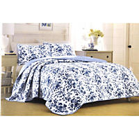 Laura Ashley King 3 Piece Quilt Set, Emery Del