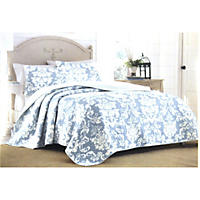 Laura Ashley King 3 Piece Quilt Set, Delaney Duc