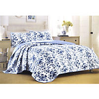 Laura Ashley Full/Queen 3 Piece Quilt Set, Emery Del