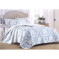 Laura Ashley Full/Queen 3 Piece Quilt Set, Delaney Duc
