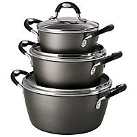 Tramontina 6-Piece Stackable Cookware Set, Black