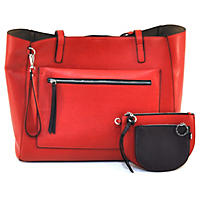 Mondani Celia Tote, Red/Dark Ruby