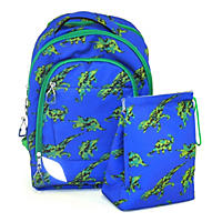 Crckt Kids' Backpack & Lunch Kit Set, Blue/Green