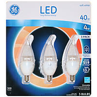 GE Clear Bent Tip Small-Base Decorative LED Light Bulbs, 3-pack