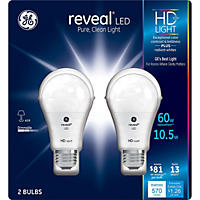 GE 11 Watt A19 Reveal HD LED Light Bulbs, 2Pk