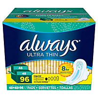 Always Ultra Thin Regular Pads with Wings 96Ct
