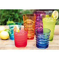 Tritan Highball and Dof Tumbler Set, 12 Pack (Multi)