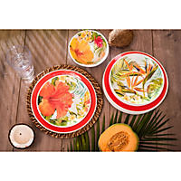 Melamine 18-Piece Dinnerware Set (Tropical Red)