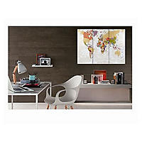 3-Piece Canvas Wall Décor, White Map