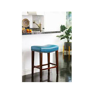 Santillo Leather Counter Stool, Teal