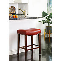 Santillo Leather Counter Stool, Red