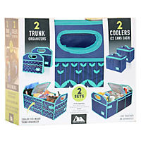 Arctic Zone 2Pk Trunk Organizer with Coolers, Blue/Green