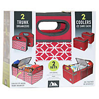 Arctic Zone 2Pk Trunk Organizer with Coolers, Red