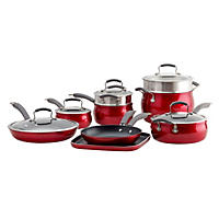 Epicurious 14-Piece Aluminum Cookware Set (Red)