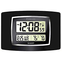 Sharp Digital Atomic Wall Clock, Black